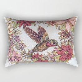 Hummingbird In Flowery Garden Wreath Rectangular Pillow