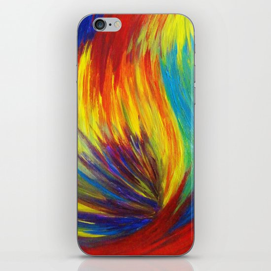 RAINBOW EXPLOSION - Vibrant Smile Happy Colorful Red Bright Blue Sunshine Yellow Abstract Painting  iPhone & iPod Skin