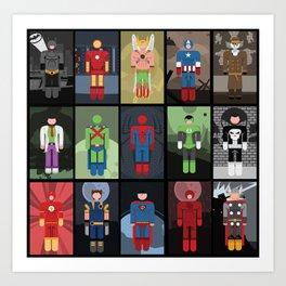 15 Superheroes Art Print