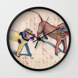 Vintage Metal Dogs with Spring Tails in Mixed Media Wall Clock
