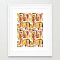 friday Framed Art Prints featuring Friday by The Patternbase