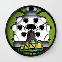 ninja turtles Wall Clocks featuring Turtles by AWOwens