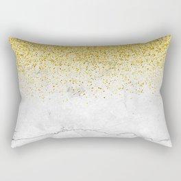 Gold Glitter and Grey Marble texture Rectangular Pillow