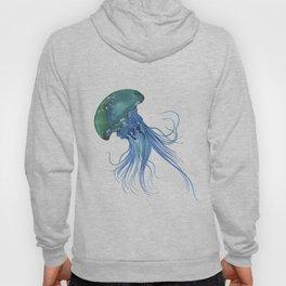 Blue & Teal Abstract Watercolor Jellyfish Minimalist Coastal Art - Coast - Sea - Beach - Shore Hoody