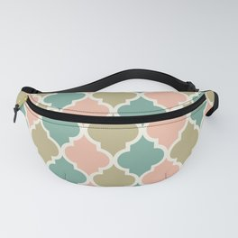 Colorful Quatrefoil Lattice Pattern 135 Dusty Rose Green and Beige Fanny Pack