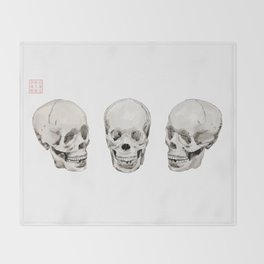 Three Skulls Throw Blanket