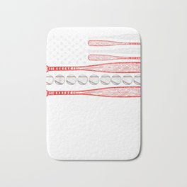 Vintage American Flag Baseball 4th July  T-Shirt Bath Mat