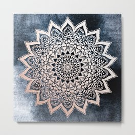 BLUE BOHO NIGHTS MANDALA Metal Print