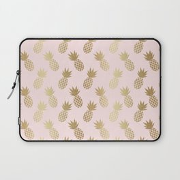 Pink & Gold Pineapples Pattern Laptop Sleeve