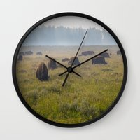 buffalo Wall Clocks featuring Buffalo by Claire Laminen Photo