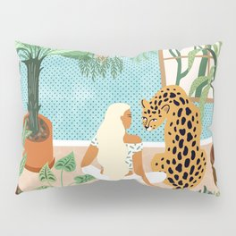 Urban Jungle Illustration, Tiger Home Decor, Woman & Modern Bohemian Wildlife Painting Pillow Sham