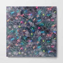 Birds and Flowers Color Pencil Metal Print