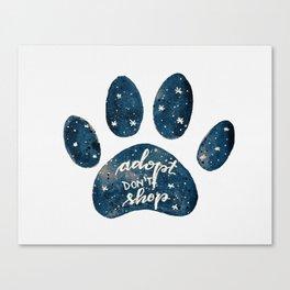 Adopt don't shop galaxy paw - blue Canvas Print