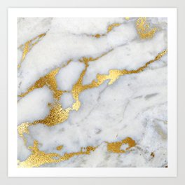 White and Gray Marble and Gold Metal foil Glitter Effect Art Print