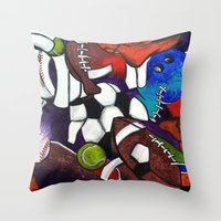 sports Throw Pillows featuring Sports Fans by Jake Dorr