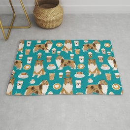 Rough Collie coffee pet portrait dog art by pet friendly latte coffee dog lover gifts Rug