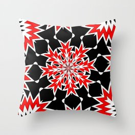 Bizarre Red Black and White Pattern 2 Throw Pillow