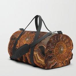 Earth treasures - brown and orange fossil Duffle Bag