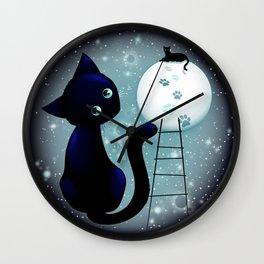 Blue Kitty Dream on the Moon Wall Clock
