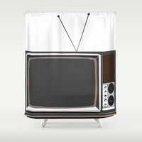 tv Shower Curtains featuring Television by Jarom Ward