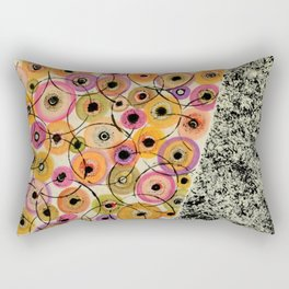 Circles and Flowers- Yellow Rectangular Pillow