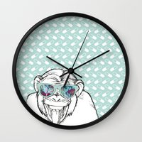 monkey Wall Clocks featuring Monkey by naidl