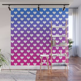 Vibrant Blue, Purple & Pink Gradient With White Hearts Wall Mural