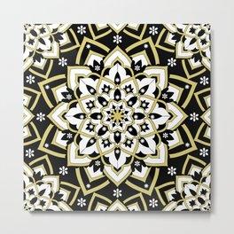 'Immortal Spirit' Mandala Black Gold White Metal Print