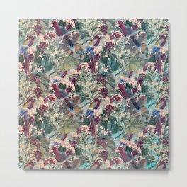 Tiled Parrots and Flora Pattern Metal Print