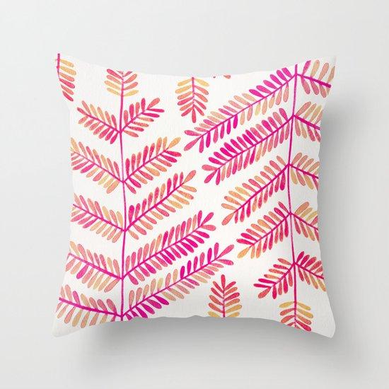 Leaflets – Pink Ombré Palette Throw Pillow