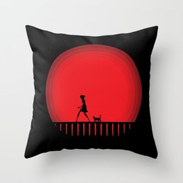 Night series - Cat Walking Throw Pillow
