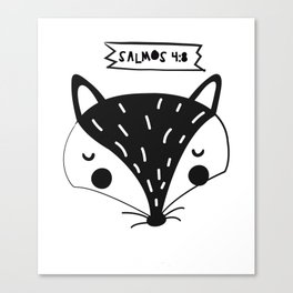 Salmos 4:8 cuadro black and write// animals illustration Canvas Print