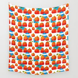 Pumpkins and sky rectangles Wall Tapestry