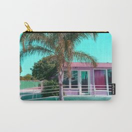 pink building in the city with palm tree and blue sky Carry-All Pouch