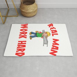 """Are You A Hard Working Person? A Perfect Tee For You Saying """"Real Man Work Hard"""" T-shirt  Strong  Rug"""