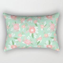 Floral bouquet pastel mint pink florals boho painted pattern basic minimal pattern print Rectangular Pillow