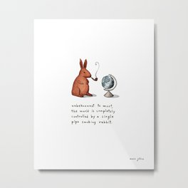 Pipe-smoking rabbit Metal Print