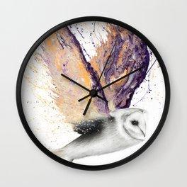 Opal Winged Owl Wall Clock