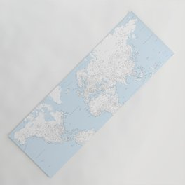 World map, highly detailed in light blue and white Yoga Mat