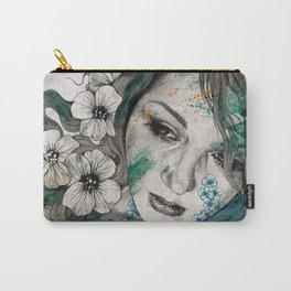 Cleopatra's Sling (flower tattoo lady portrait drawing) Carry-All Pouch