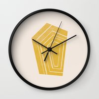 geode Wall Clocks featuring Geode II - in Citrine by Amber Barkley