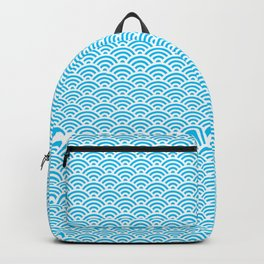 Aqua Seigaiha Wave Crest Backpack