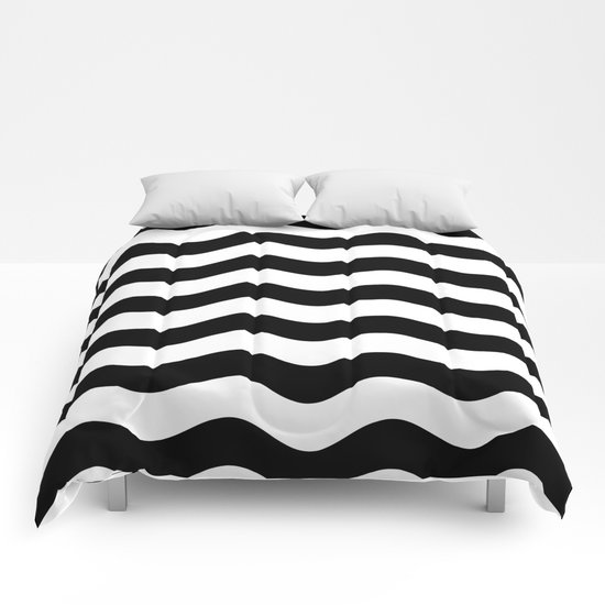 Wavy Stripes (Black/White) Comforters
