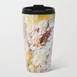 Brown, White and Yellow Abstract Art Travel Mug