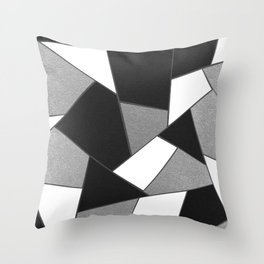 Silver Gray Black White Geometric Glam #1 #geo #decor #art #society6 Throw Pillow
