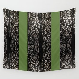 Gothic tree striped pattern green Wall Tapestry