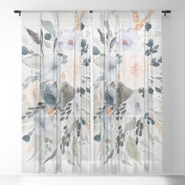 Loose Blue and Peach Floral Watercolor Bouquet  Sheer Curtain