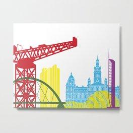 Glasgow skyline pop Metal Print