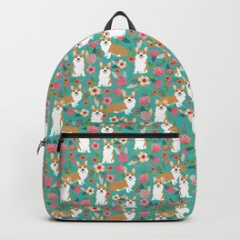 Corgi Florals - vintage corgi and florals gift gifts for dog lovers, corgi clothing,turquoise Backpack
