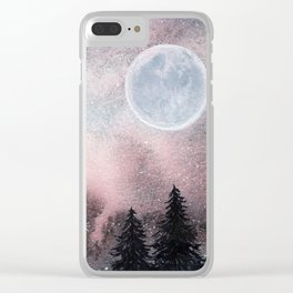 Bright Night Sky Watercolor Clear iPhone Case